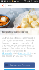 suggestion nutrition application mon carnet, fromage d'ici
