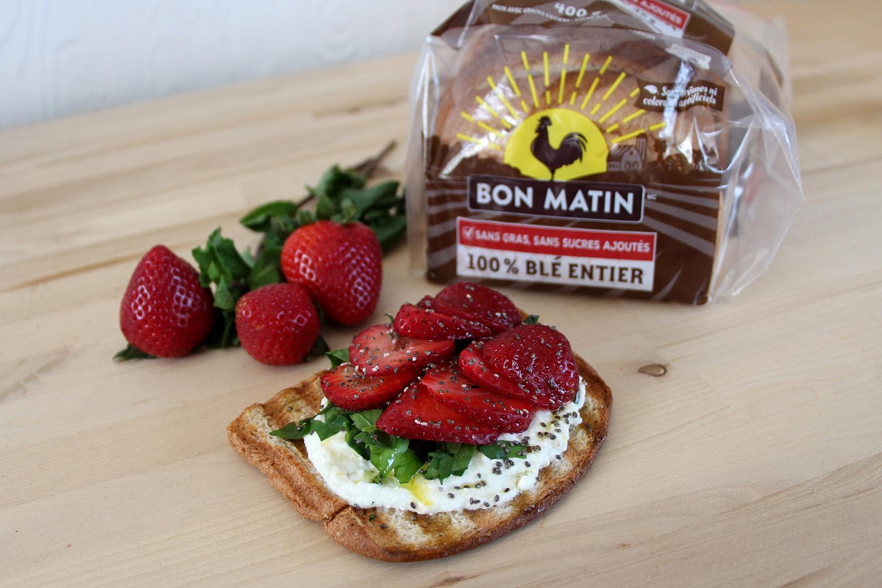 Tartine gourmande fait avec pain Bon Matin 100% blé entier